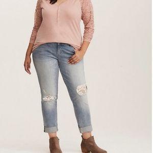 Torrid Boyfriend lace distressed crop jeans